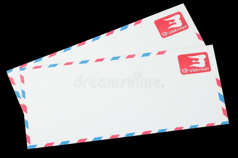 DIE VEREINIGTEN STAATEN VON AMERIKA - CIRCA 1968: Ein alter Umschlag für Luftpost stockbilder