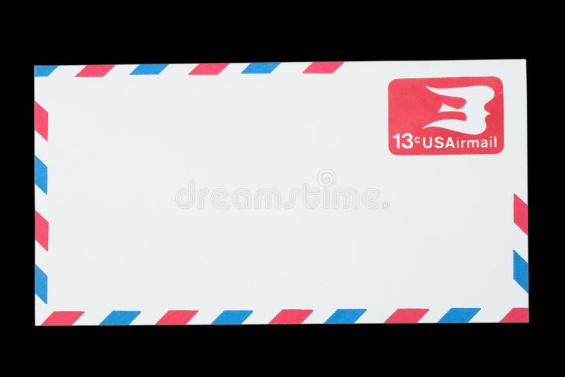 DIE VEREINIGTEN STAATEN VON AMERIKA - CIRCA 1968: Ein alter Umschlag für Luftpost lizenzfreies stockbild