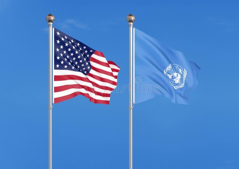 Die Vereinigten Staaten von Amerika gegen Organisation der Vereinten Nationen Starke farbige seidige Flaggen von Amerika und von  vektor abbildung