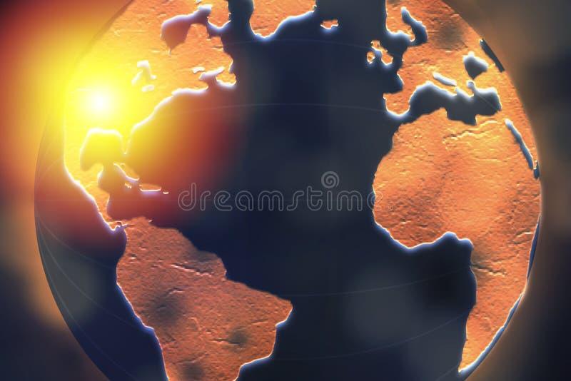 Die Vereinigten Staaten von Amerika hoben auf dunkler Kugel für Internetanschluss und weltweites Verbindungskonzept hervor lizenzfreie abbildung
