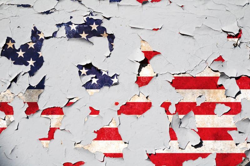 Die Vereinigten Staaten von Amerika knackten Flagge lizenzfreies stockfoto