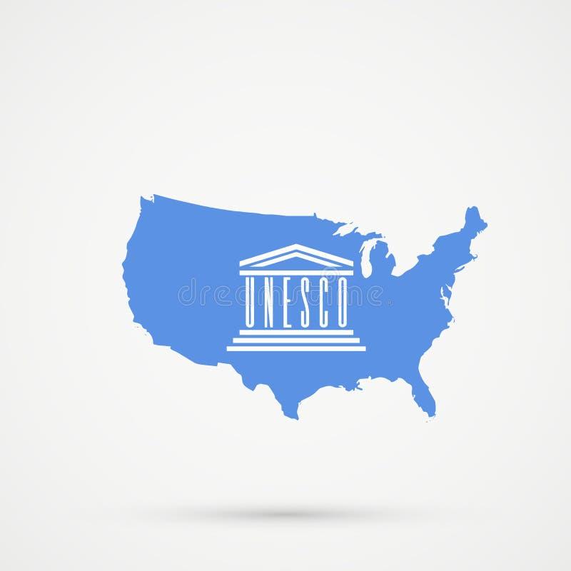 Die Vereinigten Staaten von Amerika USA zeichnen in den Organisation der Vereinten Nationen für Erziehung, Wissenschaft und Kultu lizenzfreie abbildung