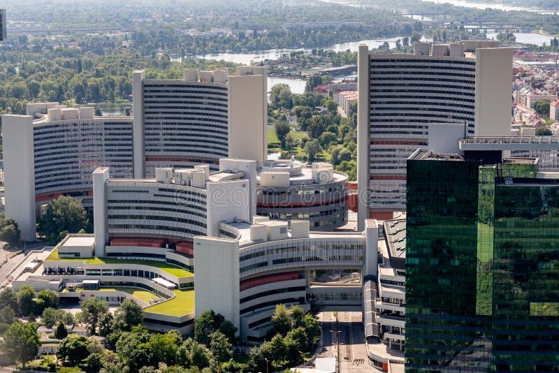 Die Vereinten Nationen, die in Wien Österreich von oben errichten stockfoto