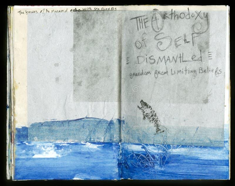 Die verrückte Klugheits-handgemachte Collage Art Journal des Künstlers lizenzfreie abbildung