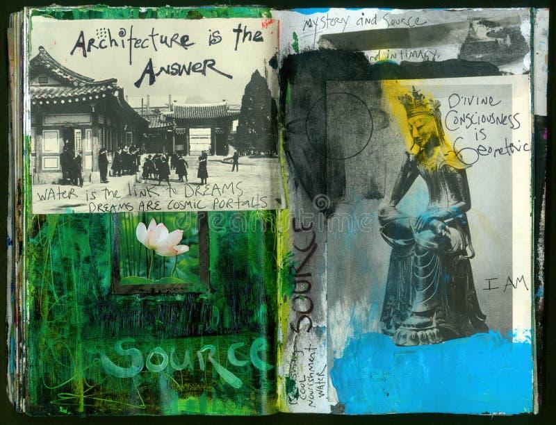 Die verrückte Klugheits-handgemachte Collage Art Journal des QUELLkünstlers vektor abbildung