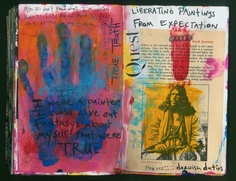 Die verrückte Klugheits-handgemachte Collage Art Journal des SUCHEkünstlers stock abbildung