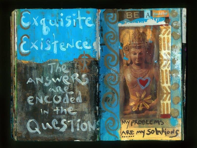Die verrückte Klugheits-handgemachte Collage Art Journal FRAGEN Künstlers lizenzfreie abbildung