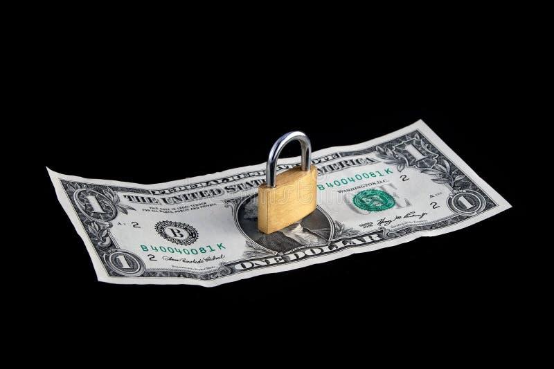 Die Verriegelung auf Geld lizenzfreies stockbild
