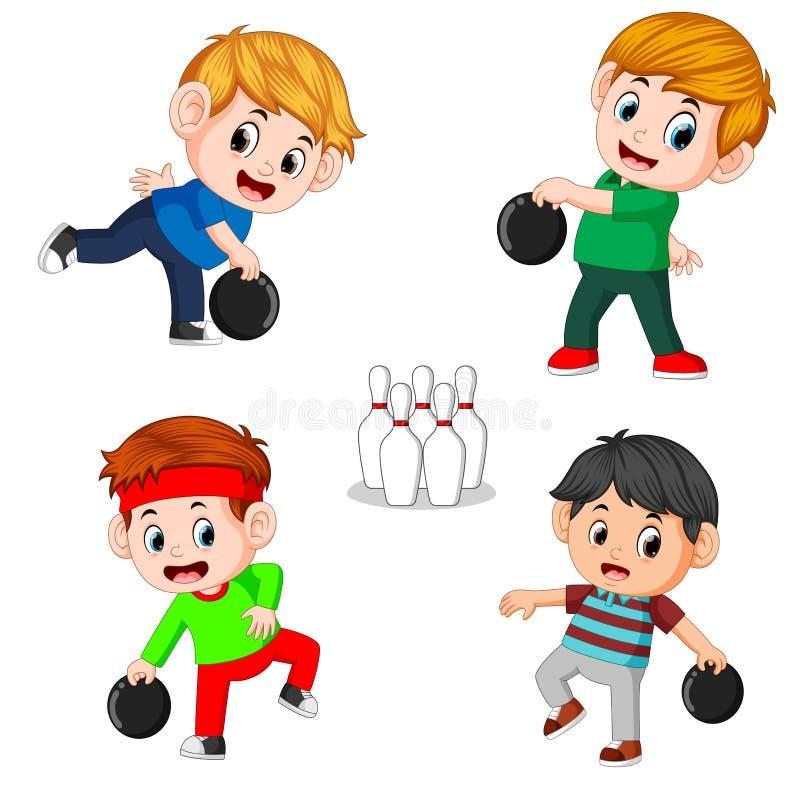 Die verschiedenen Positionen des Bowlingspielspielers vektor abbildung