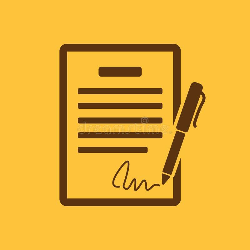 Die Vertragsikone Vereinbarung und Unterzeichnung, Pakt, Abkommen, Versammlungssymbol flach stock abbildung