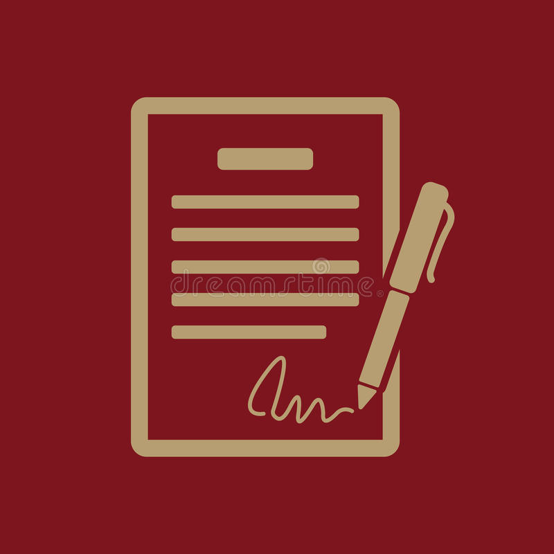Die Vertragsikone Vereinbarung und Unterzeichnung, Pakt, Abkommen, Versammlungssymbol flach vektor abbildung