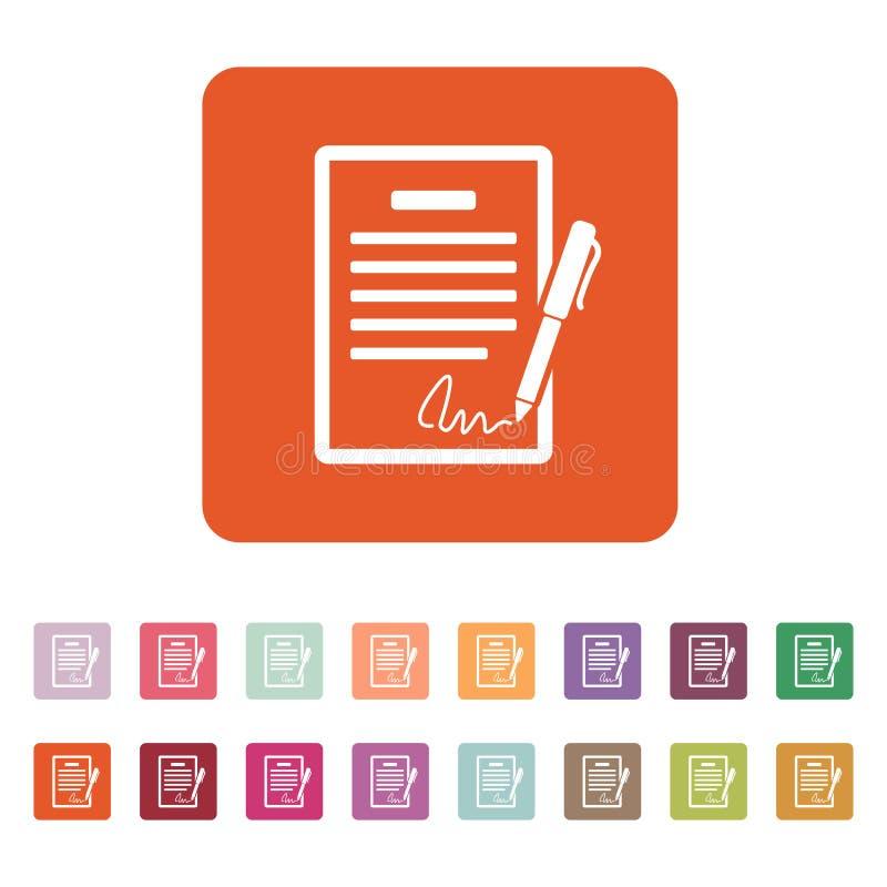 Die Vertragsikone Vereinbarung und Unterzeichnung, Pakt, Abkommen, Versammlungssymbol flach lizenzfreie abbildung