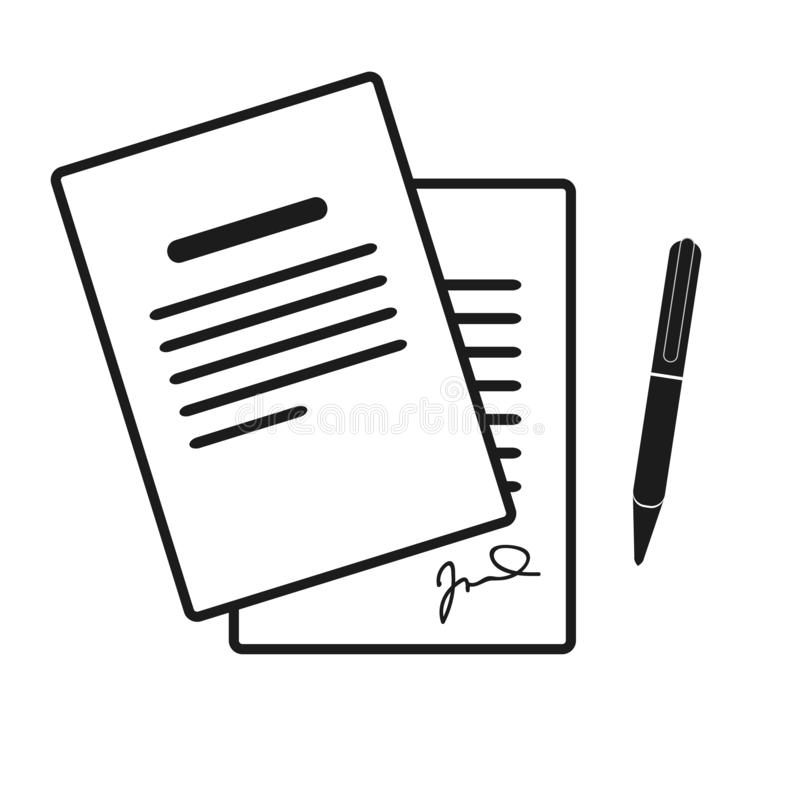Die Vertragsikone Vereinbarung und Unterzeichnung, Pakt, Abkommen, Versammlungssymbol Flache Vektorillustration lizenzfreie abbildung