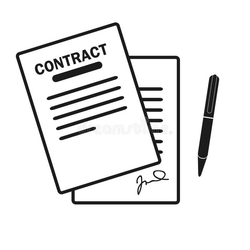 Die Vertragsikone Vereinbarung und Unterzeichnung, Pakt, Abkommen, Versammlungssymbol Flache Vektorillustration vektor abbildung