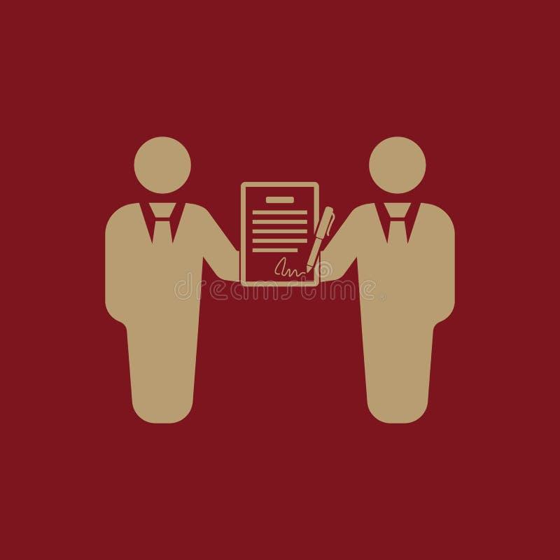 Die Vertragsikone Vereinbarung und Unterzeichnung, Pakt, Partnerschaft, Verhandlungssymbol flach vektor abbildung