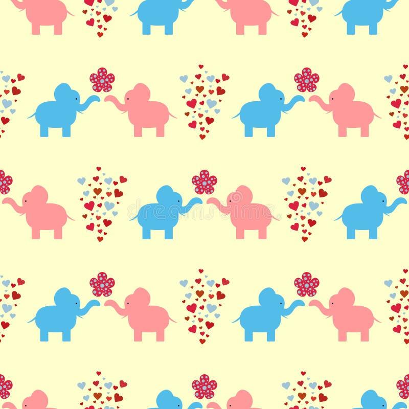 Die Verzierung eines liebevollen Paares der Elefanten, der Blumen und der Herzen Nahtloses Muster für Kinder stock abbildung