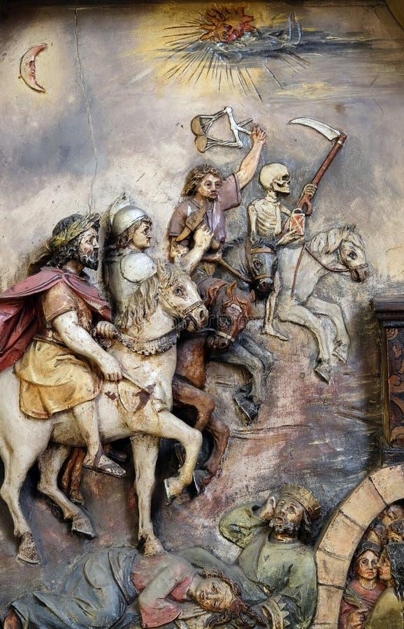 Die vier Reiter der Apocalypse stockbilder