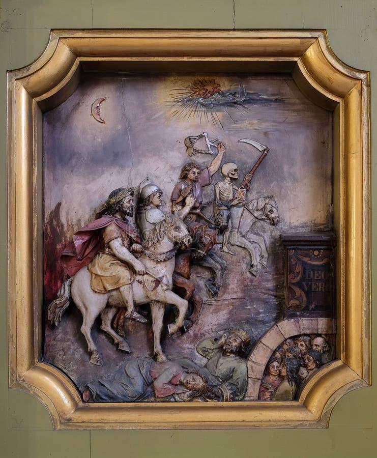 Die vier Reiter der Apocalypse lizenzfreie stockbilder