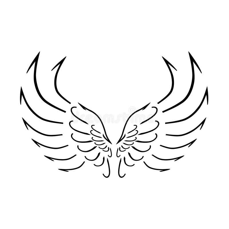 Die Vogel ` s stilisierte Schablone Flügel lizenzfreies stockfoto