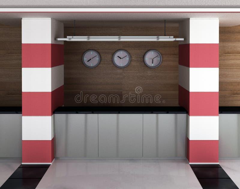 Die Vorhalle mit einem Aufnahmeschreibtisch lizenzfreie abbildung