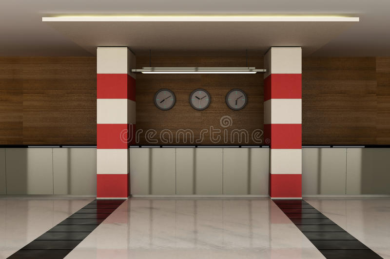 Die Vorhalle mit einem Aufnahmeschreibtisch vektor abbildung
