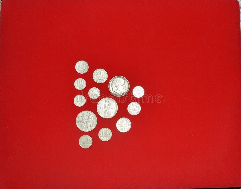 Die Währungseinheit der UDSSR Altes sowjetisches Geld Eisenmünzen mit dem Bild von Lenin lizenzfreie stockfotos
