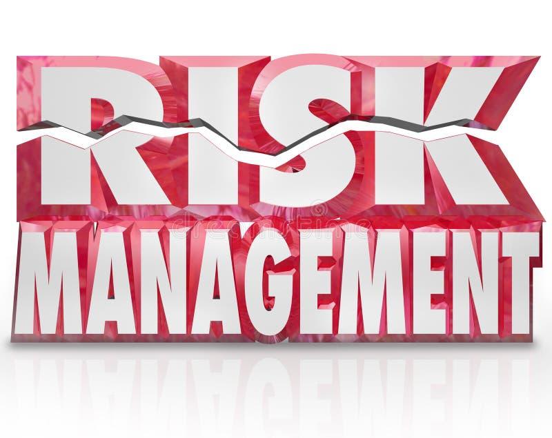 Die Wörter des Risikomanagement-3d, die Gefahr verringern, setzen Haftung herab vektor abbildung
