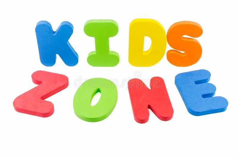 Die Wörter 'Kinderzone' lizenzfreies stockbild