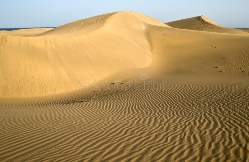 Die Wüste in Gran Canaria mit mit Wellenmuster stockfotografie