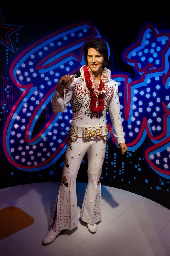 Die Wachsfigur von Elvis Aaron Presley in Madame Tussauds Singapore lizenzfreie stockfotografie