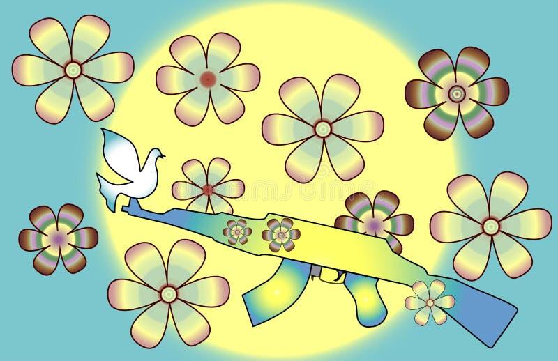 Die Waffe wächst Blumen in einer Welt ohne Krieg