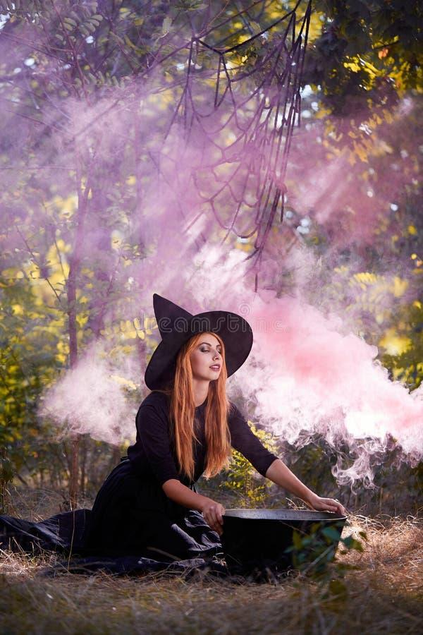 Die Waldrätselhafte Hexe im grünen Holz draußen stockfotografie