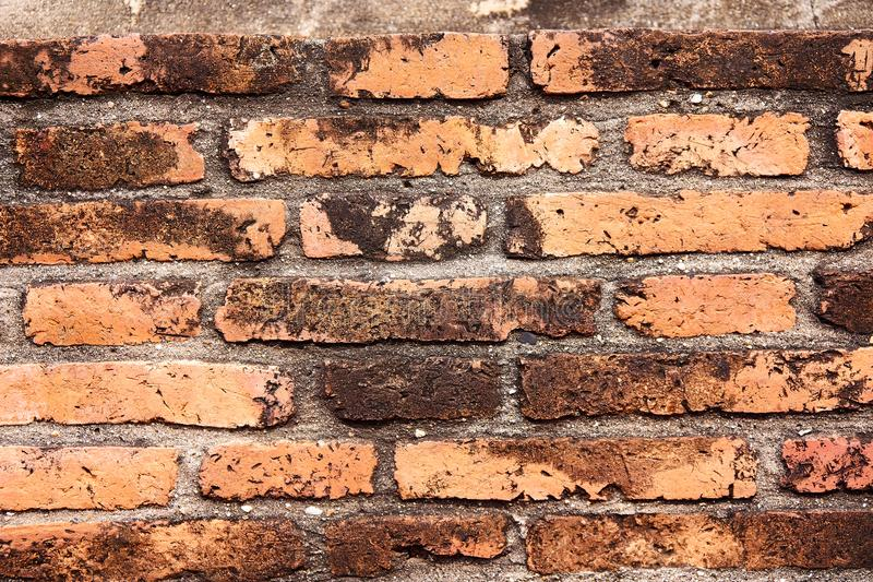 Die Wand des alten Tempels wird vom orange Ziegelstein hergestellt stockbild