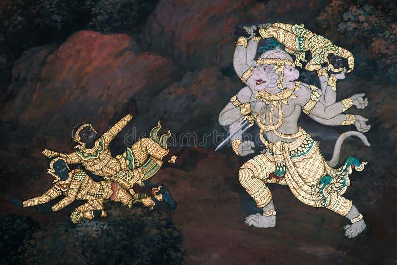 Die Wandmalereien Ramakian Ramayana entlang den Galerien des Tempels Emerald Buddhas, lizenzfreies stockfoto
