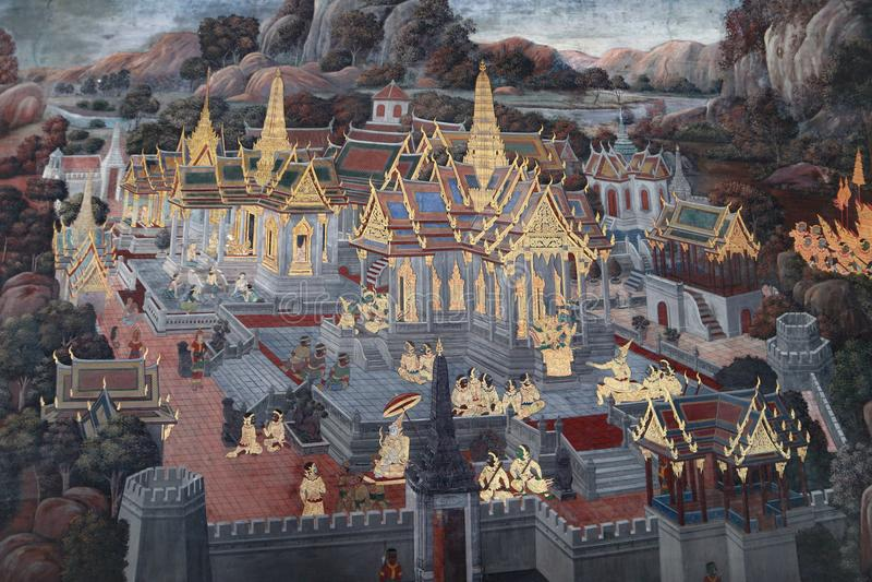 Die Wandmalereien Ramakien Ramayana entlang den Galerien des Tempels Emerald Buddhas, des gro?artigen Palastes oder des wat phra  lizenzfreie stockfotos