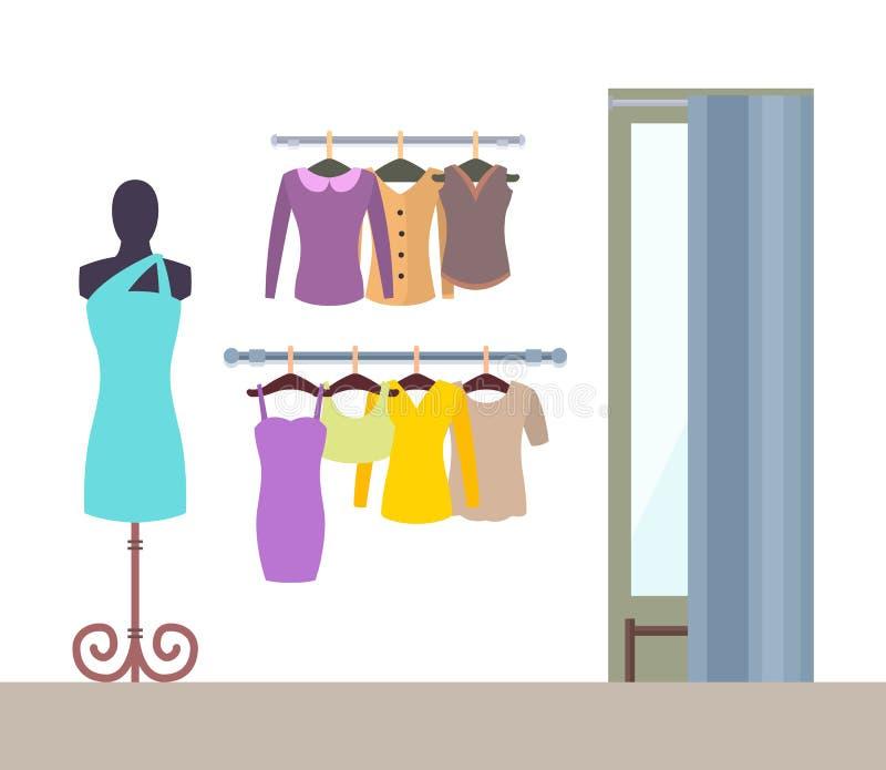 Die Waren-Butiken-Vektor-Illustration der abstrakten Frauen vektor abbildung
