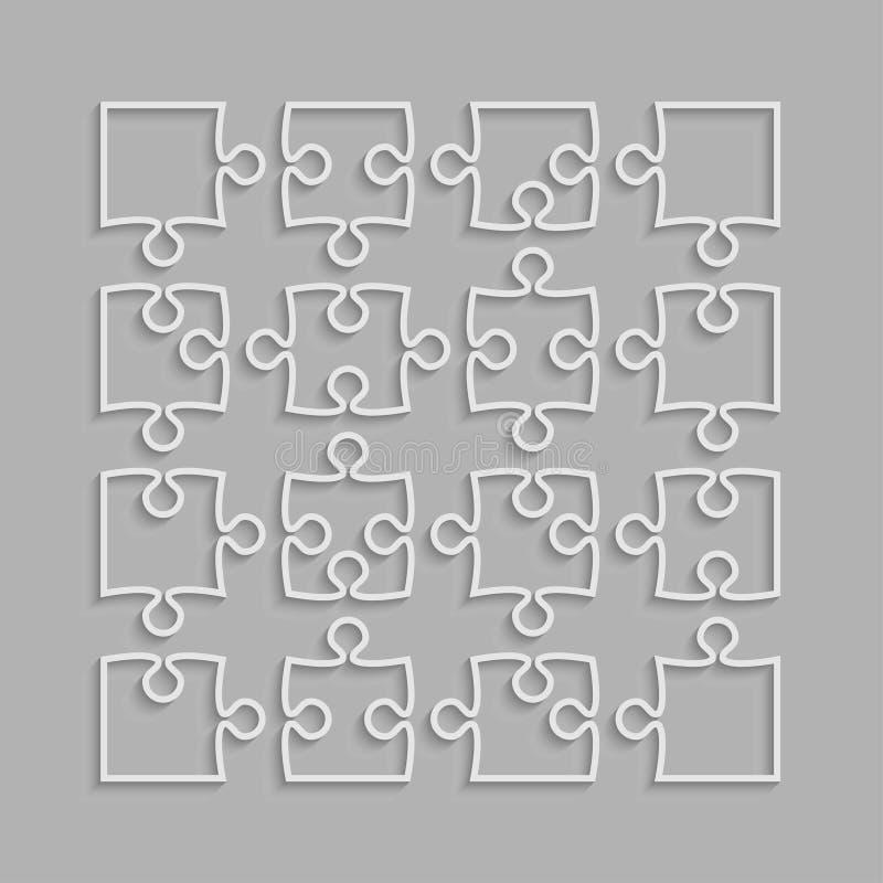 Die 16 weißen Puzzlespiel-Stücke umreißen von der Laubsäge lizenzfreie abbildung