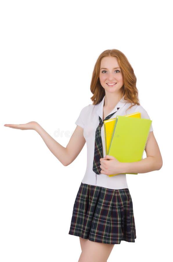 Die weibliche Holding des jungen Studenten lokalisiert auf Weiß lizenzfreie stockbilder