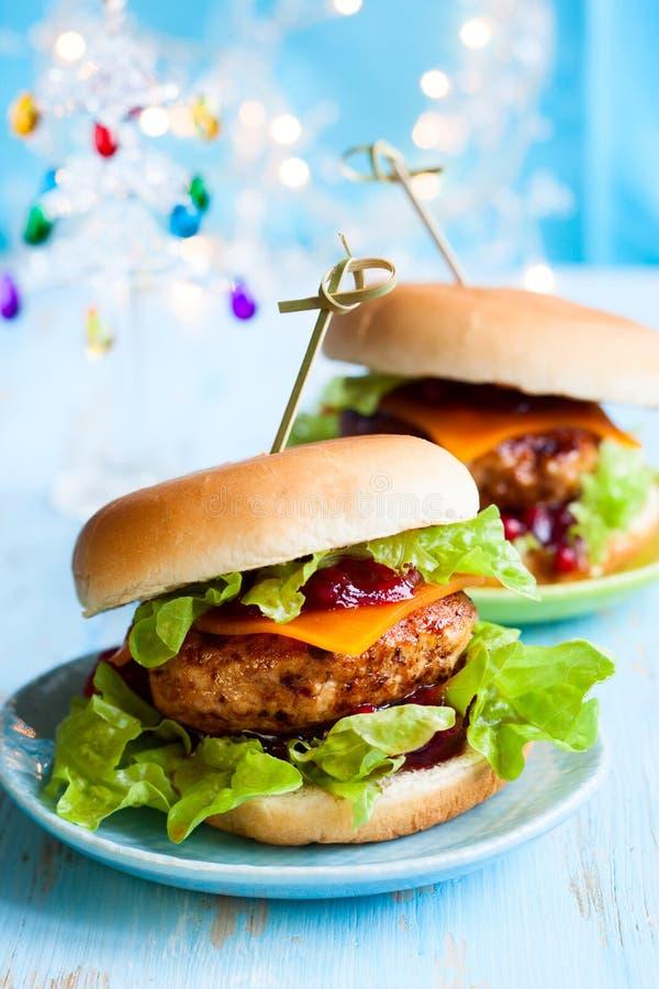 Die Weihnachts-Türkei-Burger stockbild