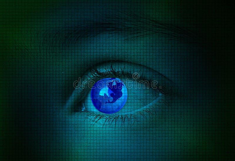 Die Welt auf Blau pixeled Auge lizenzfreies stockbild