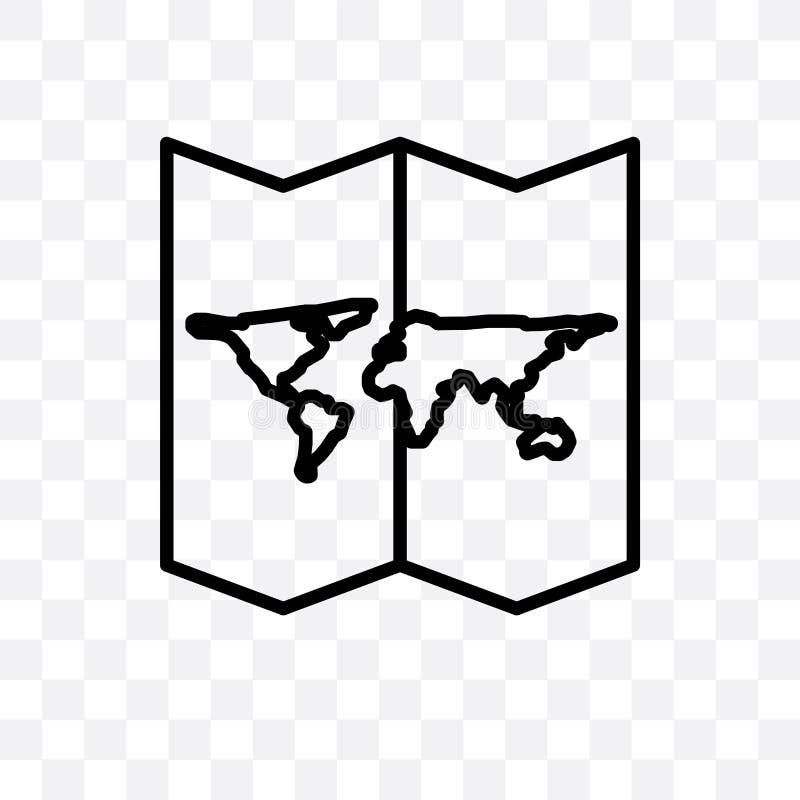 Die Weltkarte gefaltete lineare Ikone des Vektors, die auf transparentem Hintergrund, Weltkarte gefaltetes Transparenzkonzept lok vektor abbildung