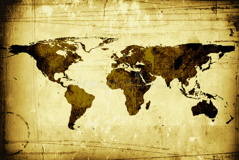 Die Weltkarte grungy stockfotos
