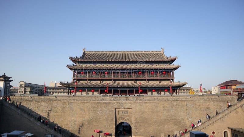 Die Weststadt von Xi'an, die Hauptstadt Qin Dynastys und des Tang Dynastys, die Stadtmauer und das Yongdingmen-Stadttor stockfotos