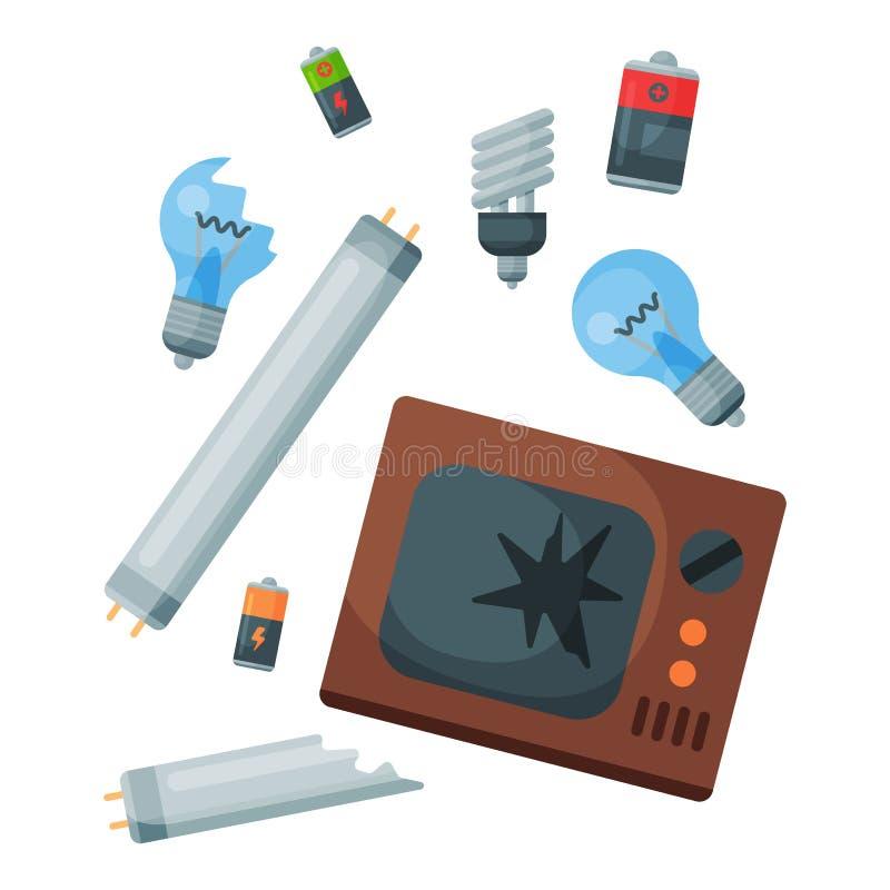 Die Wiederverwertung Abfalldes glasabfalleabfall-Reifenmanagements, das Industrie Abfall verwenden, kann vector Illustration lizenzfreie abbildung