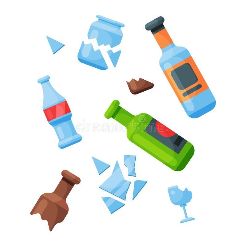 Die Wiederverwertung Abfalldes glasabfalltaschen-Reifenmanagements, das Industrie Abfall verwenden, kann vector Illustration lizenzfreie abbildung