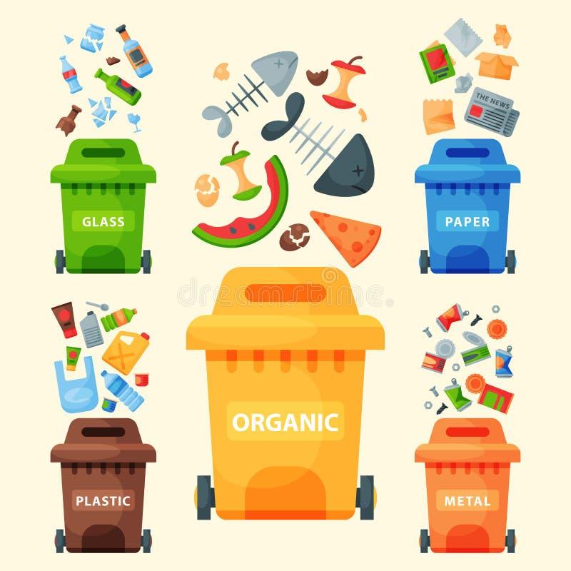 Die Wiederverwertung des Abfallelement-Abfalltaschen-Reifenmanagements, das Industrie Abfall verwenden, kann vector Illustration lizenzfreie abbildung
