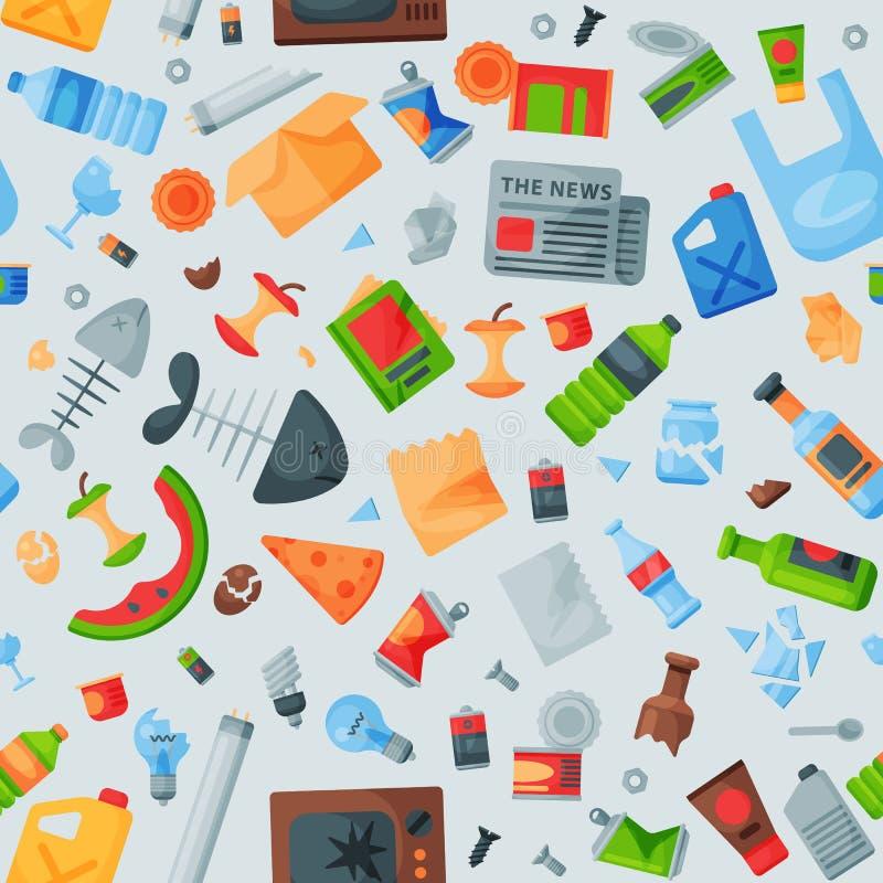Die Wiederverwertung Muster-Abfalltaschen des Abfalls von nahtlosen kann die Wiederverwertung der Abfallbehälter-Vektorillustrati stock abbildung