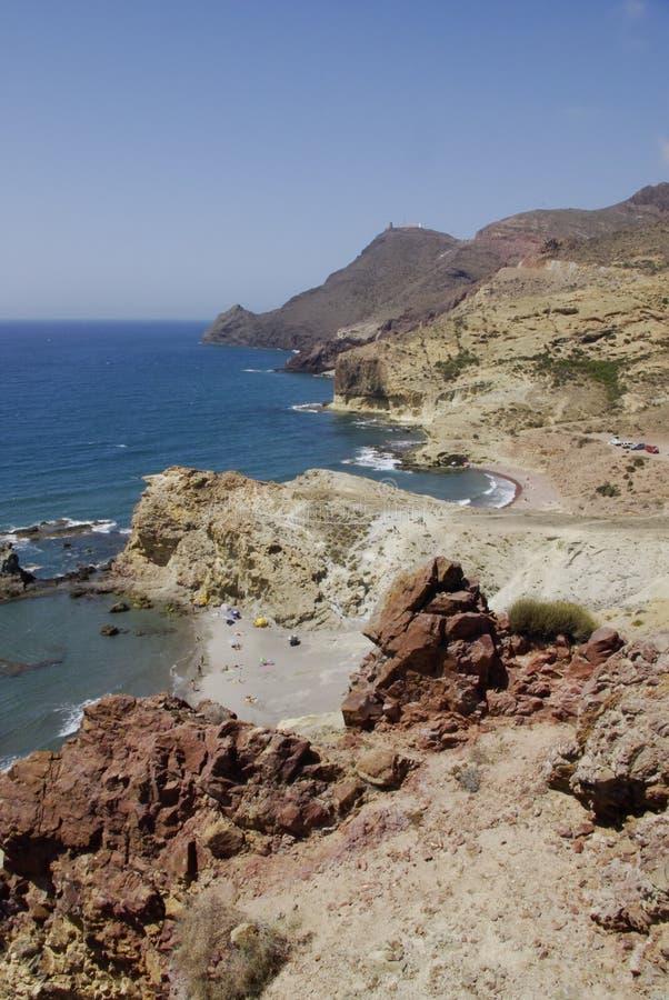 Die wilde Küstenlinie von Cabo der Gata, in Andalusien lizenzfreie stockfotos