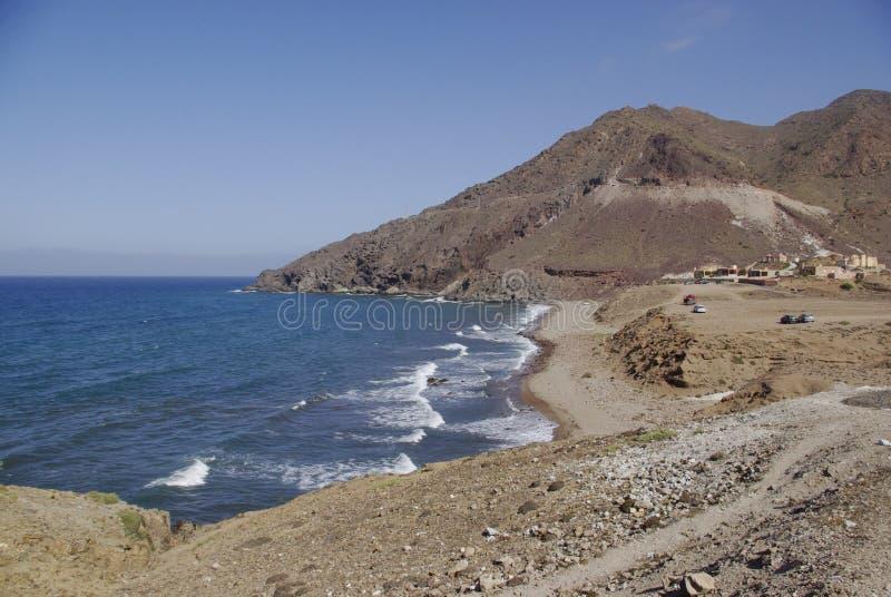 Die wilde Küstenlinie von Cabo der Gata, in Andalusien lizenzfreies stockbild