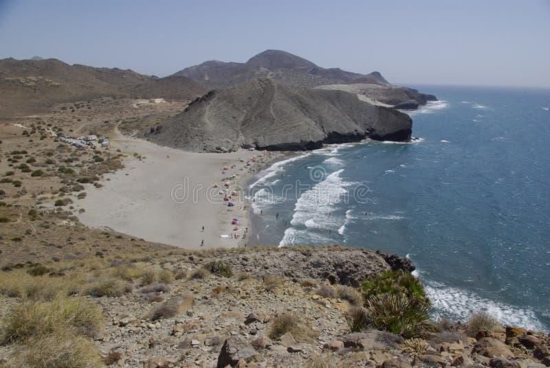 Die wilde Küstenlinie von Cabo der Gata, in Andalusien lizenzfreies stockfoto